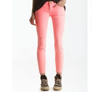Current Elliott The Stiletto Orange Skinny Jeans